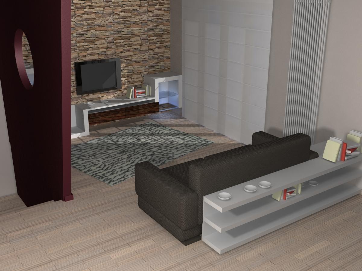 Studio di architettura architetto civitanova marche macerata soggiorno tv - Parete salotto in pietra ...